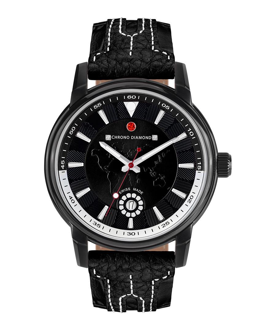 Nereus black leather & diamond watch Sale - chrono diamond