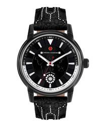 Nereus black leather & diamond watch