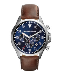 Gage brown leather & navy dial watch