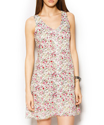 Vindi white cotton blend floral dress