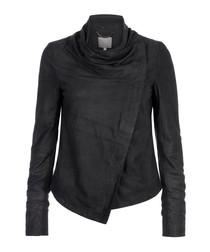 Sinoia black leather asymmetric jacket