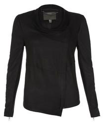 Yogi black leather asymmetric jacket