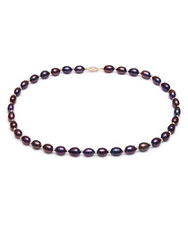 9ct gold-plated black pearl necklace