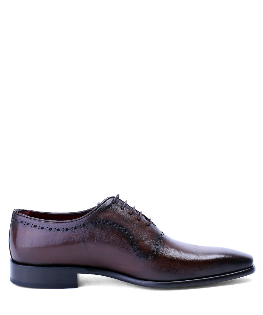 Brown perforated leather oxford shoes Sale - deckard