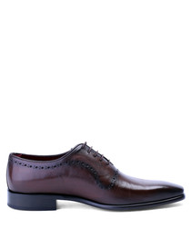 Brown perforated leather oxford shoes