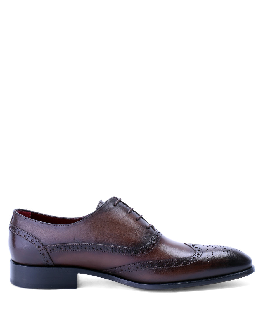 Dark brown perforated leather oxfords  Sale - deckard