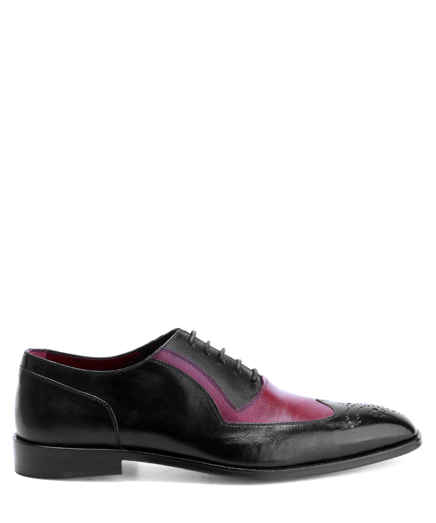 Black & red leather contrast oxfords Sale - deckard