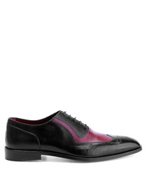 Black & red leather contrast Oxfords