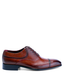 Antique brown leather detail oxfords