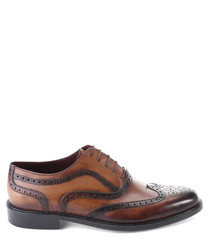 Tan & brown leather detail oxfords