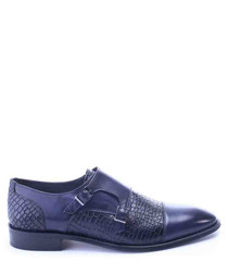 Blue leather snakeeffect monkstraps