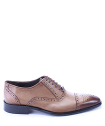 Walnut leather dual-tone oxfords