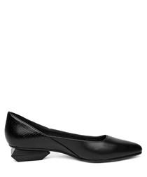 Black leather geometric low heels