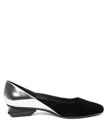 Silver leather geometric low heels