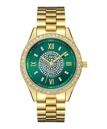 18ct gold-plated & green crystal watch