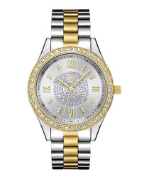 18ct gold-plated two-tone crystal watch