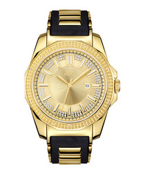 18ct gold-plated & black crystal watch