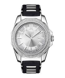 Black silicone & silver-tone watch