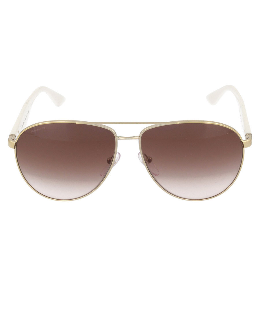 Prada Gold Frame Glasses : Prada Gold-tone & cream aviator sunglasses, Designer Sale ...