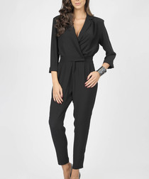 black waist-tie wrap jumpsuit