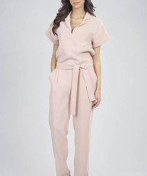 Light pink waist-tie jumpsuit