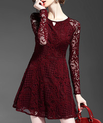 Burgundy lace long-sleeve mini dress