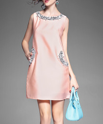 Pink crystal detail shift mini dress