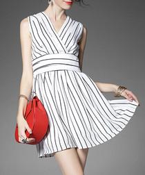 White & black linen striped mini dress