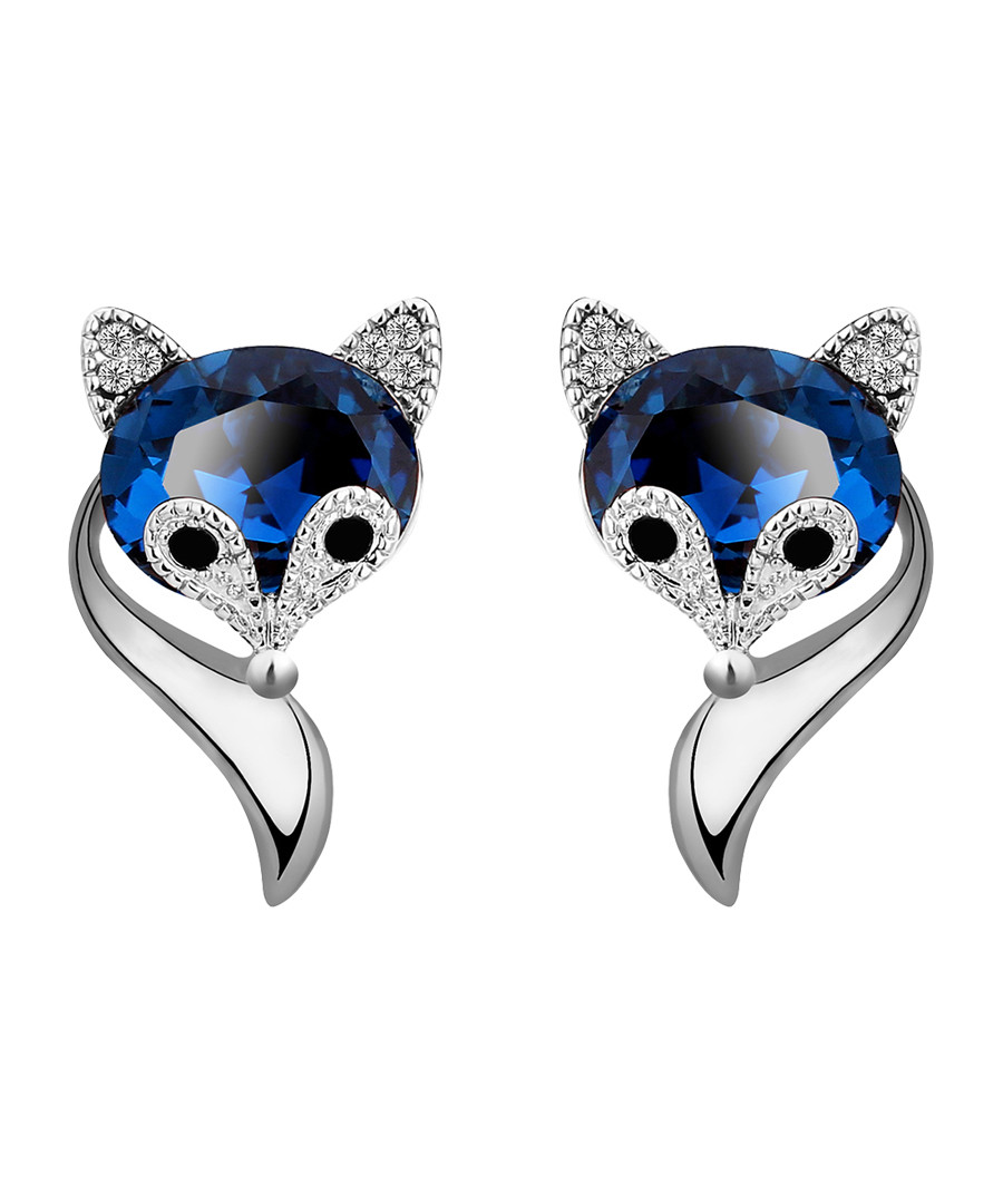 18ct white gold-plated fox studs Sale - caromay