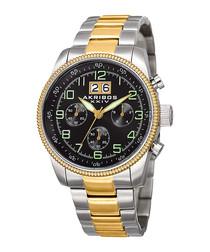 Gold-tone crimped bezel detail watch