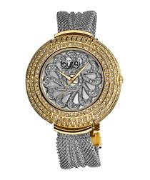 Steel & crystal chain strap watch