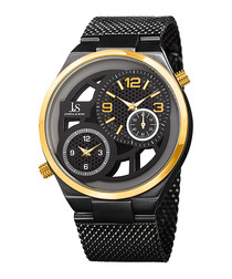 Black & yellow gold-tone steel watch