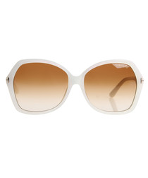 Carola white round sunglasses