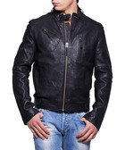 Men's Freddy black leather jacket