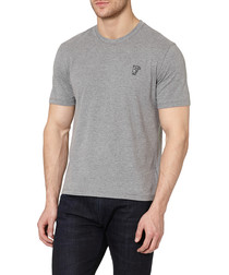 Grey pure cotton round neck T-shirt