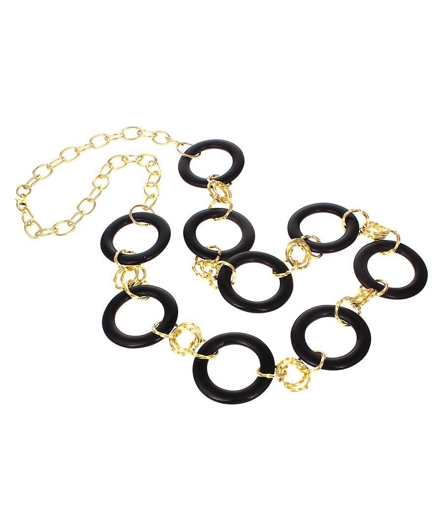 18ct gold-plated black onyx necklace Sale - liv oliver