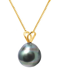 1cm Tahitian pearl & gold necklace