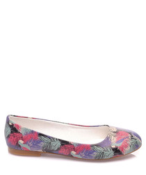 Multi-coloured leaf print ballet flats