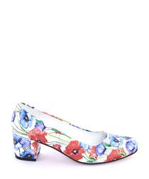 Multi-coloured watercolour block heels