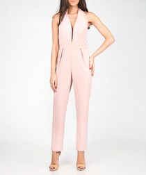 Light pink plunging halterneck jumpsuit