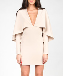 Beige bodycon V-neck cape dress