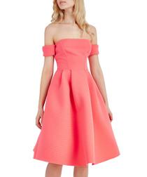 Coral off-the-shoulder dress