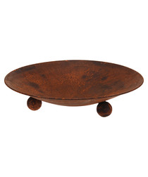 Rust-effect metal round fire bowl