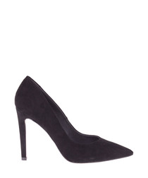 Black suede pointed toe courts