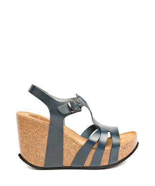 3c7e076b7c8 Lalita navy leather wedge sandals Sale - Uma Sale