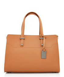 Cognac leather boxy grab bag
