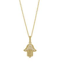 Hamsa gold-plated crystal pendant
