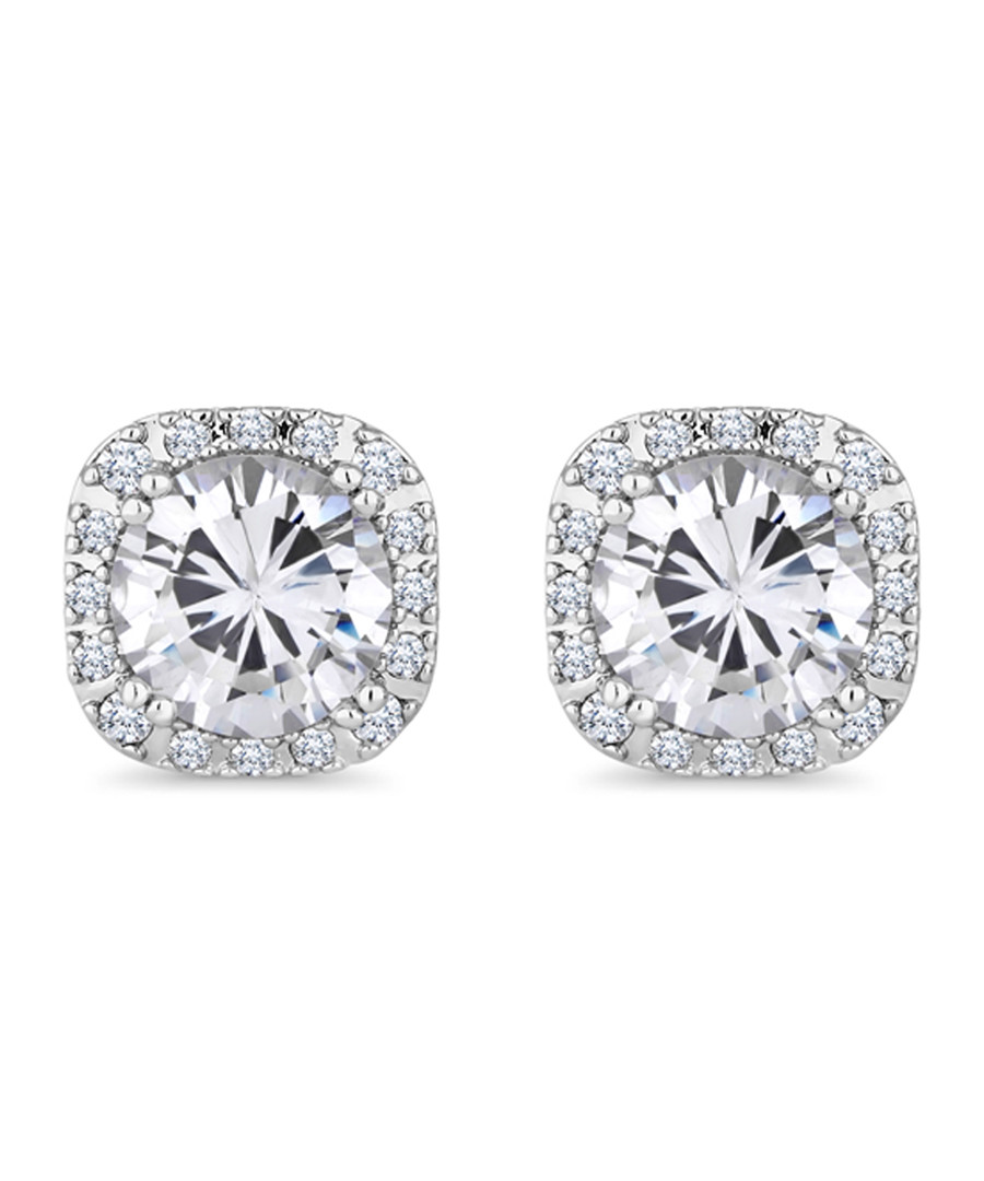 Affinity white gold-plated studs Sale - diamond style