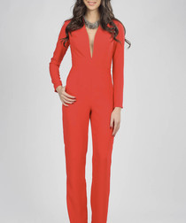 red plunge neck long sleeve jumpsuit
