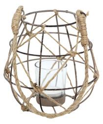 Small brown jute tea light lantern